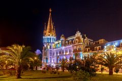 Батуми Квадрат Европы на ноче Стоковое Фото