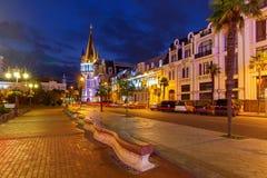 Батуми Квадрат Европы на ноче Стоковая Фотография