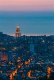 Батуми, Adjara, Georgia Вид с воздуха городского городского пейзажа на вечере Стоковая Фотография