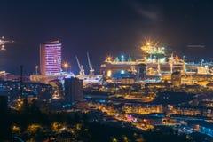 Батуми, Adjara, Georgia Вид с воздуха городского городского пейзажа на вечере Стоковые Фотографии RF