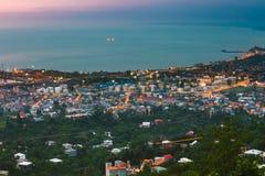 Батуми, Adjara, Georgia Вид с воздуха городского городского пейзажа на вечере Стоковое фото RF