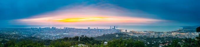 Батуми, Adjara, Georgia Панорама, вид с воздуха городского городского пейзажа Стоковая Фотография RF