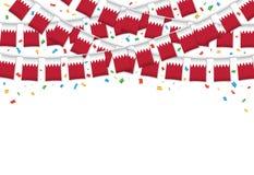 Бахрейн сигнализирует предпосылку гирлянды белую с confetti, овсянкой вида на бахрейнский День независимости иллюстрация штока