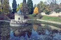 Башенка в Bojnice, Словакии, голубом фильтре Стоковое Фото