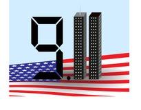 Башни Близнецы одиннадцатое -го сентябрь Америка США 9 11 также вектор иллюстрации притяжки corel Стоковая Фотография RF