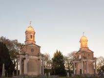 Башни Близнецы Mistley сгоренный вниз с шпилей церков частный Стоковые Фотографии RF