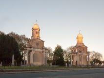 Башни Близнецы Mistley сгоренный вниз с шпилей церков частный Стоковое Изображение