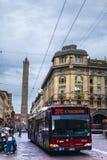 2 башни болонья в пасмурном дне Стоковое Изображение RF