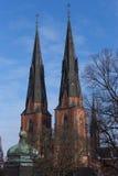 Башни Близнецы собора Уппсалы Стоковые Фотографии RF