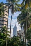 Башни Близнецы Petronas между зданиями и кокосовыми пальмами Стоковая Фотография RF