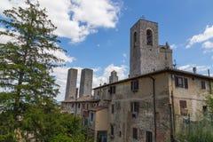 Башни в San Gimignano Тоскане Италии Стоковое Изображение RF