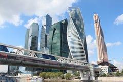 Башни города Москвы делового центра и моста Bagration Стоковое Изображение RF
