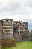 Башни и ров внутри злят замок, Францию Стоковое Изображение RF