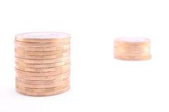 2 башни монеток изолированной на белизне Стоковое Изображение RF