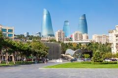 Башни пламени в Баку Стоковое Изображение RF