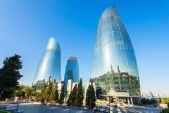 Башни пламени в Баку Стоковые Изображения
