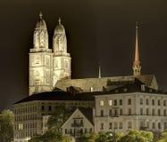 Башни собора Grossmunster в Цюрихе, HDR Стоковые Фото