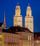Башни собора Grossmunster в Цюрихе, HDR Стоковая Фотография