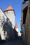 Башни стены городка в Таллине стоковое изображение