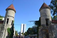 Башни стены городка в Таллине стоковые изображения rf