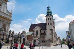Башни церков в Кракове, Польша St Andrew Стоковое фото RF