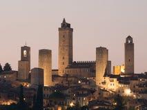 Башни San Gimignano на ноче Стоковая Фотография RF