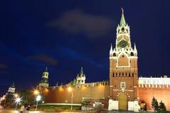 Башни Spassky, Tsarskaya и Nabatnaya Москвы Кремля Стоковое фото RF