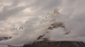 Башни Trango спрятанные в облаках Стоковые Изображения RF