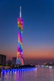 Башня башни или кантона Гуанчжоу, официально башня ТВ Гуанчжоу астрономическая и Sightseeing Стоковые Фото