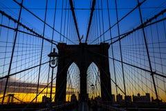 Башня Бруклинского моста Нью-Йорка Стоковые Изображения RF