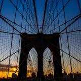 Башня Бруклинского моста Нью-Йорка Стоковая Фотография