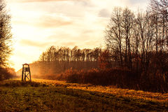 Башня бдительности для охотиться на зоре Стоковые Фото
