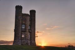 башня Великобритания захода солнца cotswolds broadway Стоковое Изображение RF