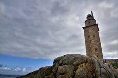 Башня Геркулеса, старый римский маяк около города ½ a ¿ Coruï, в севере Испании Стоковая Фотография RF