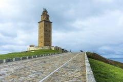 Башня Геркулеса в Coruna, Галиции, Испании Стоковые Изображения RF