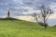 Башня Геркулеса в Coruna, Галиции, Испании Стоковое Изображение