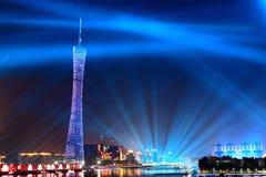 Башня Гуанчжоу на ноче Стоковые Фотографии RF