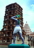 Башня дворца maratha thanjavur с статуей фермера Стоковые Фотографии RF