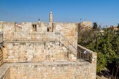 Башня Дэвида и старых стен города Иерусалима, Израиля Стоковое Изображение