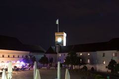 Башня замка на ноче Стоковая Фотография RF
