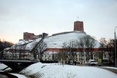 Башня замка Gediminas, символа города Вильнюса Стоковая Фотография RF