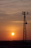 башня захода солнца клетки Стоковое Изображение