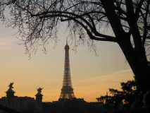 башня захода солнца eiffel Стоковое Изображение RF