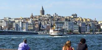 Башня и городской пейзаж Стамбула Galata Стоковые Фото