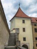 Башня и лестница на замке Bojnice стоковые фотографии rf