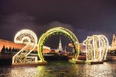 Башня и 2019 Spasskaya За зиму Москву до рождества и Нового Года стоковая фотография rf