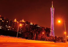 Башня кантона сцены ночи в фарфоре стоковое фото