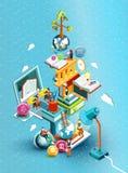 Башня книг с людьми чтения принципиальная схема воспитательная Онлайн библиотека Дизайн онлайн образования равновеликий плоский иллюстрация штока