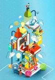 Башня книг с людьми чтения принципиальная схема воспитательная Онлайн библиотека Дизайн онлайн образования равновеликий плоский иллюстрация вектора
