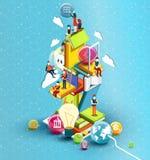Башня книг с людьми чтения принципиальная схема воспитательная Онлайн библиотека Стоковые Изображения RF